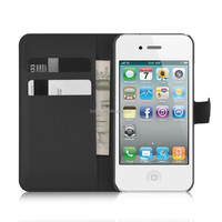 Flip Magnetic Wallet PU Leather Credit Card Slot Case Cover For Apple iPhone 4S case
