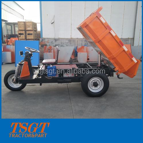 heavy load 2 ton electric cargo 3 wheel tricycle with hydraulic self dumping
