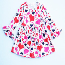 Little girls party dresses for 0-16 years old children cotton frock designs Valentine's Day girls clothing