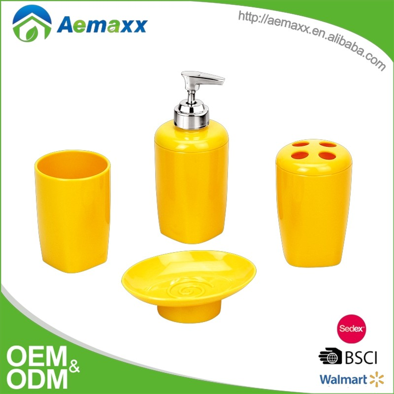 Comfortable style yellow hotel balfour acrylic wholesale bathroom accessories
