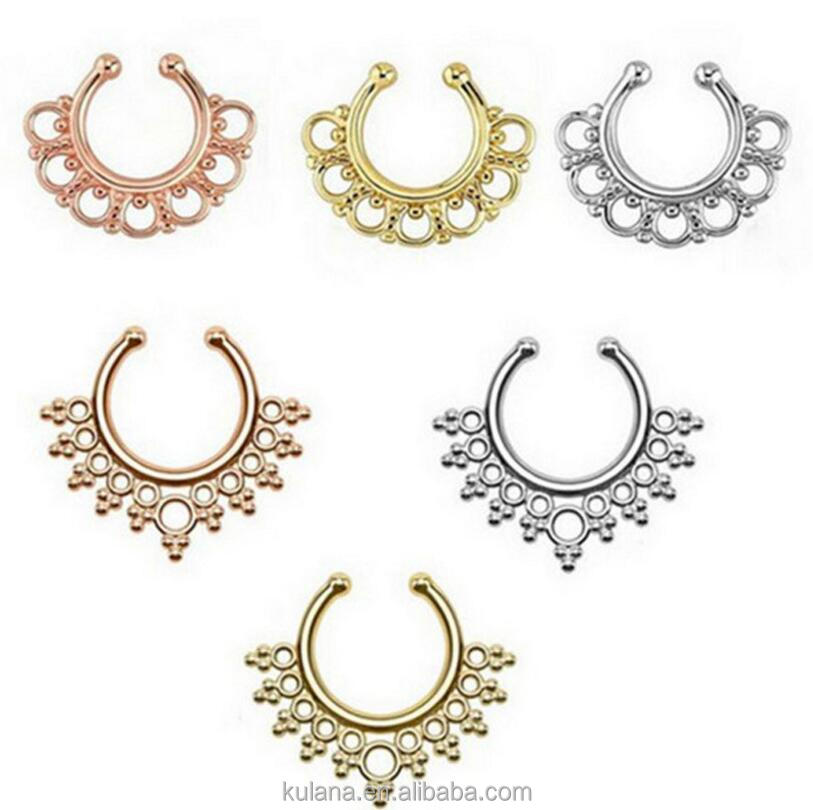 Hot selling Faux septum Indian Flower fake nose ring