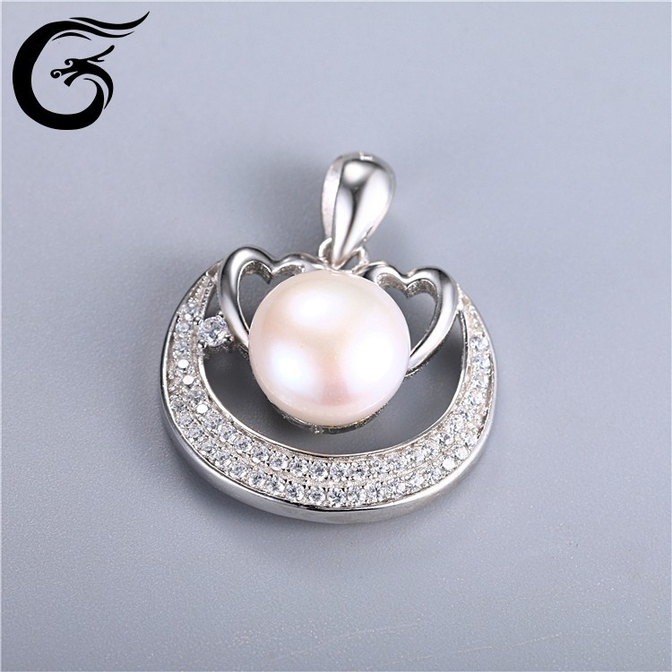 couple pendant pearl pendant 925 sterling silver angel pendant