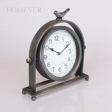 Vintage Desk Metal Bird Decorative Table Clock