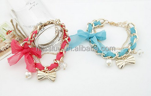 Fashion multi-layer silk ribbon bracelets jewelry with bow charms Custom charm ribbon bangles Hot promotion best gifts for girls