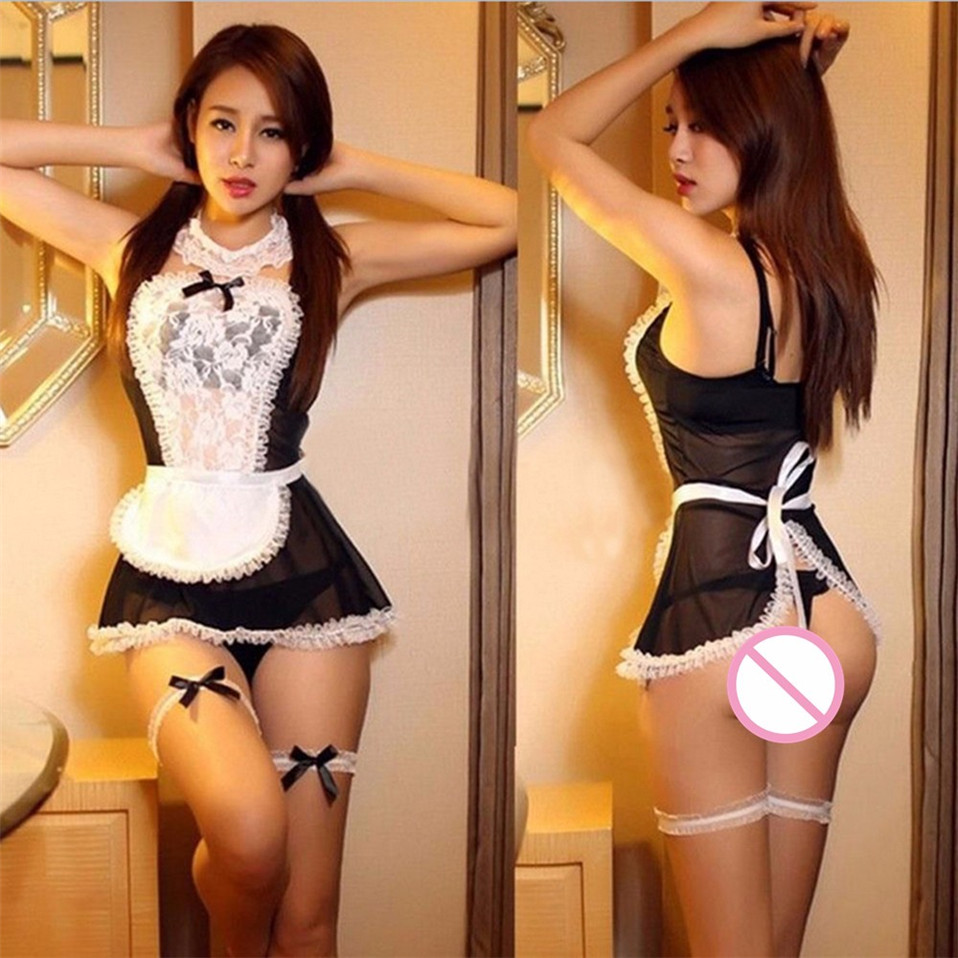 HTB1A4sFgb_I8KJjy1Xaq6zsxpXa4 LSTRY 2020 New Bow Lace Lingerie Women French Maid Cosplay Sexy Lingerie Hot Transparent Costumes Erotic Lovely Maid Costumes
