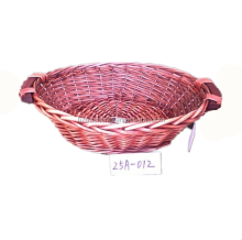 Handmade natural red wicker tray fruit willow basket with wooden ears for gift packing