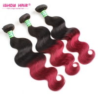 Global Rush Factory Price Peruvian Ombre Color Body Wave Virgin Hair Weaves