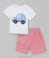 Car And Airplan Two Pieces T-shirt Plaid Shorts Clothing Manufactures Children Boys Clothes Fancy Kids Set Of Online Shopping
