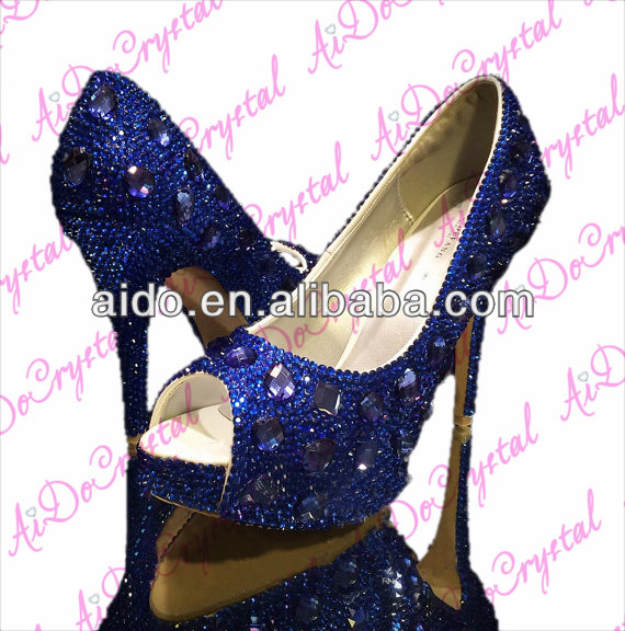 Deep Blue Luxury Cystal Diamond Frost Bridal Wedding Peep Toe High heels