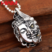 S925 sterling thai silver half buddha half demon head shaped vintage old style pendants jewelry jewellery for man
