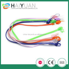 customized zipper lanyard with rubber puller