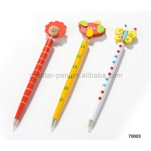 wooden craft pen with cartoon top, 2014 newest design ballpen for students as holiday gift