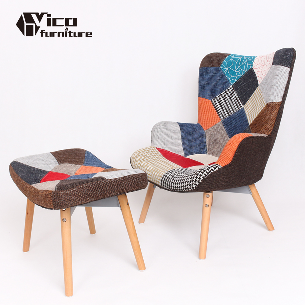wood leg fabric cheap portable hotel modern living room design sofa emes relax recliner lounge chair with footrest