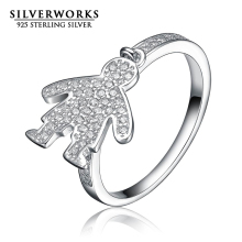 Russian CZ Paved 925 Sterling silver Boy Pendant Ring For Women Finger Silver Ring