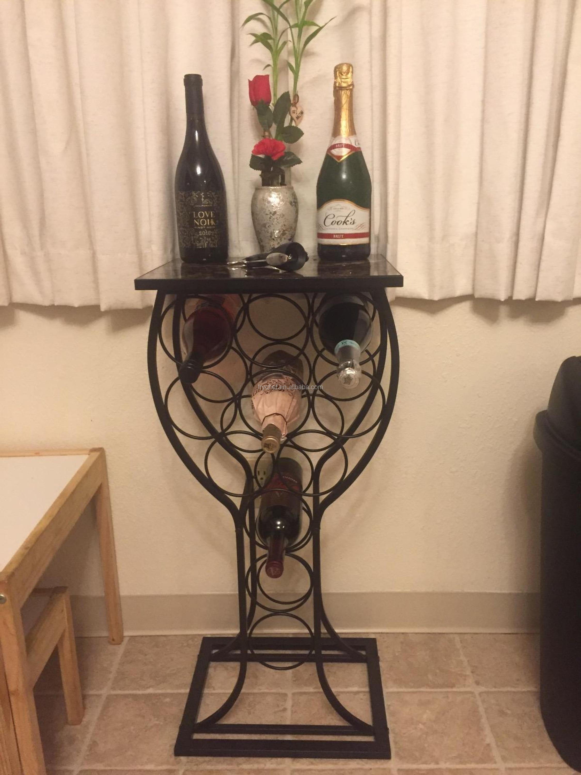 Metal Steel Furniture With Marble Finish Top Wine Storage Organizer Display Rack Table
