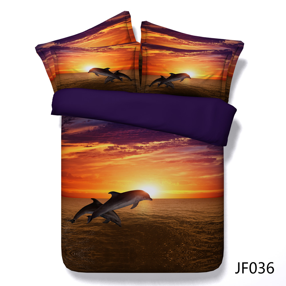 Latest 3d Dolphins in Golden Sunset HD digital print bed set