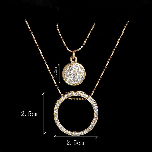 18k gold filled Austrian Crystal Classic Hollow 48cm necklace pendant earrings jewelry set TH390
