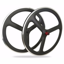 New 3-Spoke Carbon wheels with aluminum brakes surface wheels,T700 full carbon New Carbon Tri spoke wheels