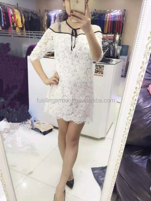New Fashion Ladies Dress Mid Long Sleeve Korean Sexy Ladies Silk Lace Dress