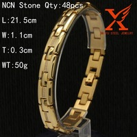 Classical 316L Men Stainless Steel 18K Gold Plated Bracelet Design