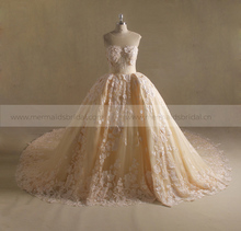 Real photo silver wedding dress heavy lace wedding gown