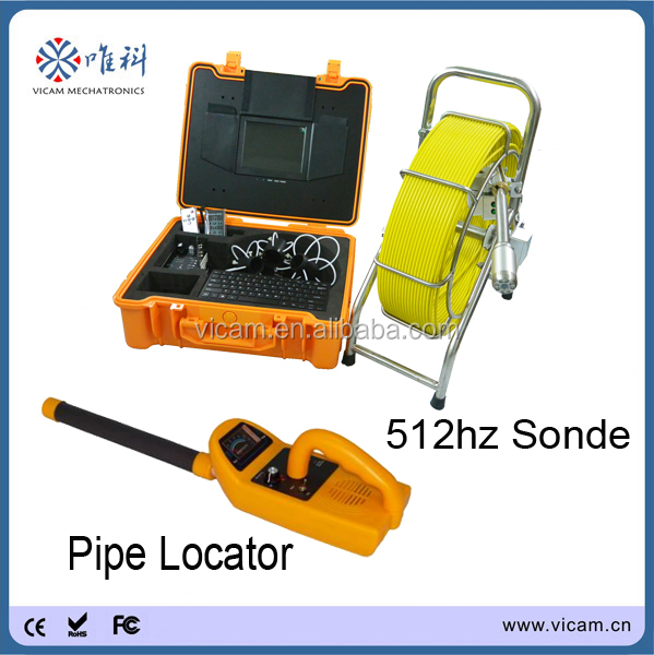 Antomatic balancing cctv drain inspection camera with 512hz locator, meter counter, 9mm rod