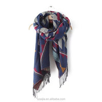 Fashion ladies winter acrylic Jacquard pashmina shawl