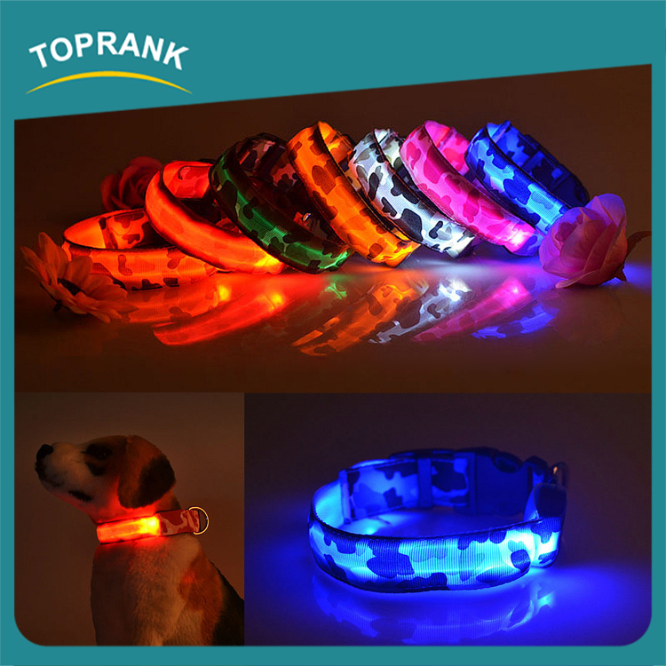 Fashion flashing waterproof rechargeable led pet collar for dog