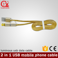 new fashion 1.5m braided led lighting yellow color 2 in 1 micro usb cable for android