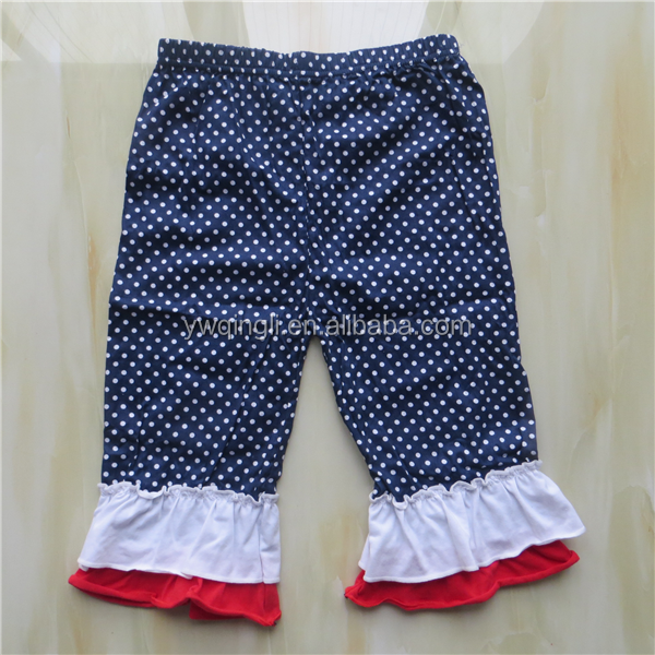 Hot Sale Summer girls 4th of July clothing set camisole and pants ruffle outfit for kids