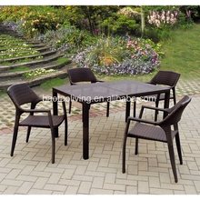 plastic resin rattan dining set tables and chairs for events restaurant furniture