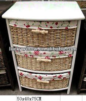 lovery handmade wicker &wood drawer cabinet /wicker or willow storage cabinet with 3 basket(manufacture)