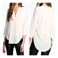 China High Quality Half Sleeve V-Shape Sexy Breathable Cotton Blouse for Ladies 2015