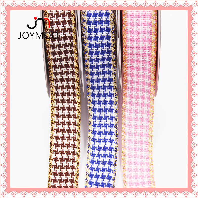 Promotional 3.5cm Polyester Fabric Gingham Cotton Grosgrain Ribbon Pink Blue Checked Plaid Ribbon Tartan Checked Ribbon