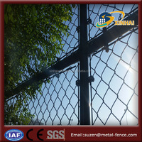 PVC Coated Green Used 9 Gauge Chain Link Wire Mesh Fence For Sale