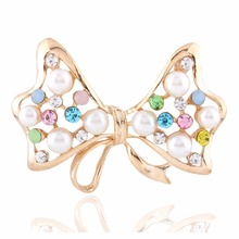Korean exquisite crystal diamond hollow bow brooches pin