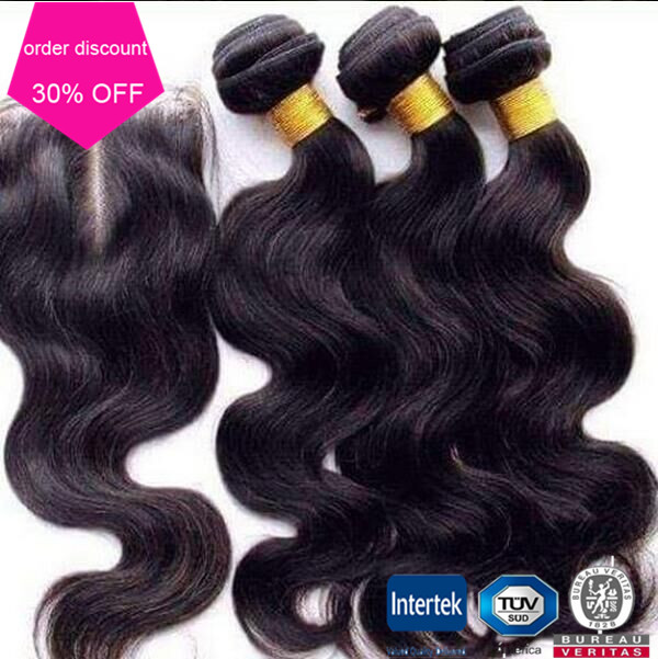 Brazilian Remy Hair Body Wave With One Free Part Lace Closure Cheap 3 Bundles Brazilian Hair With Closure