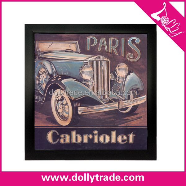 40*40cm Eco-friendly Plastic PS Frame with Antique Car Wall Decorative Picture