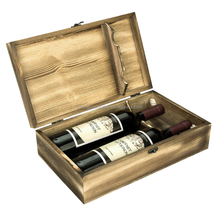 Double bottle wine box wooden wine gift box old design rustic wine packaging box