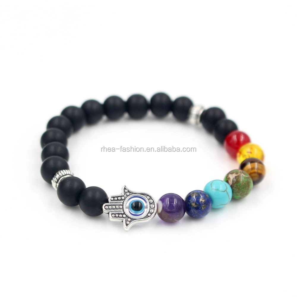 8mm Muti-color Bead Black Matte 7 Chakra Healing Balance Hand of Fatima Hamsa Bracelet for Men Rhinestone Reiki Prayer <strong>Stones</strong>