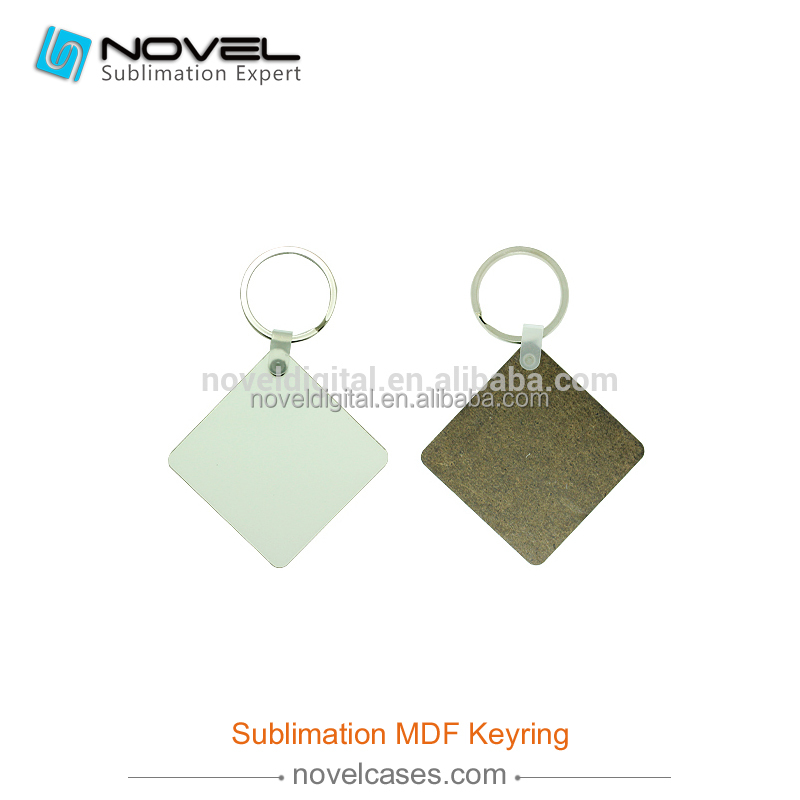 Personalized square blank sublimation MDF printer keyrings