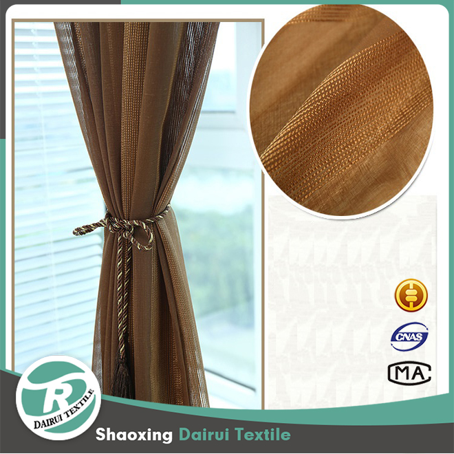 Wholesale kids bedroom 100% polyester stripe jacquard sheer curtain fabric in guangzhou