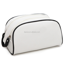 double zipper PU cosmetic bag men leather travel wash bag or man cosmetic bag