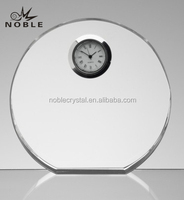 High Quality Blank Round K9 Crystal Desk Clock For Decoration Gift.
