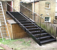 Outdoor metal staircase, outdoor stair railing design, galvanized stairs, TS-248