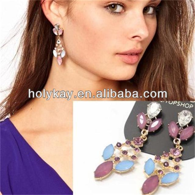 Wholesale 2014 high end costume jewelry fashion colored resin stones chandelier earrings from china manufacturers