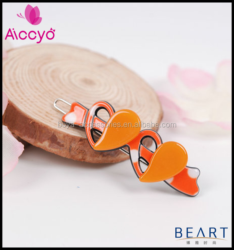 2015 new fashion acrylic bow double heart hair pin handmade kids plastic hairpin