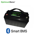 Bluetooth 12v 100ah deep cycle lithium ion battery with smart BMS