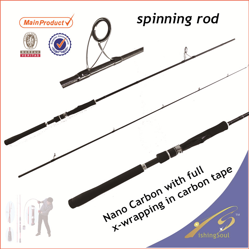 SPR116 cheap fishing tackle carbon fiber boat pole spinning pole for saltwater
