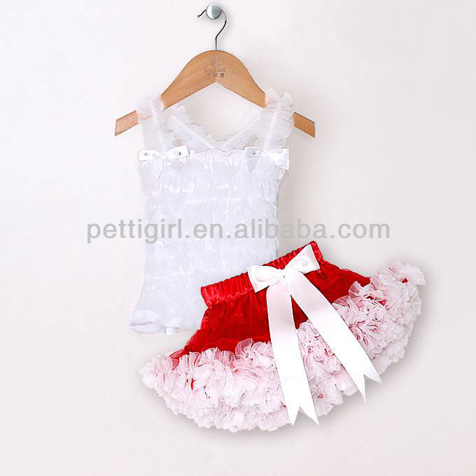 2016 Infant Petti Tutu Dress For Girl White Top and Red Skirt Lace Party Dress With Bowknot Chiffon and Cotton P121219-9